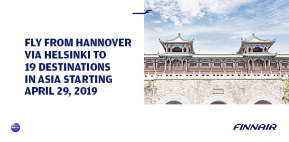 From Hannover via Helsinki to 19 destinations in Asia